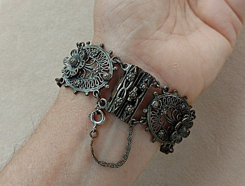 Early 1900's Indo-Craft Heavy Floral Filigree Bracelet in Gray Pot Metal