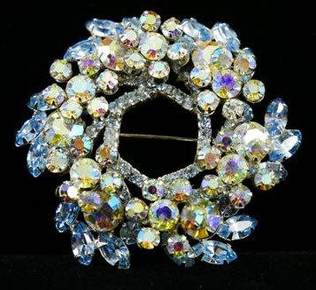 Ice Blue Multi-Tier Rhinestone & Aurora Borealis Wreath Brooch