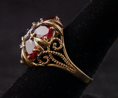 "Midcentury 10K Gold Domed Ring with 7 Large Garnets, Each 3/8"" , Size 9.75"
