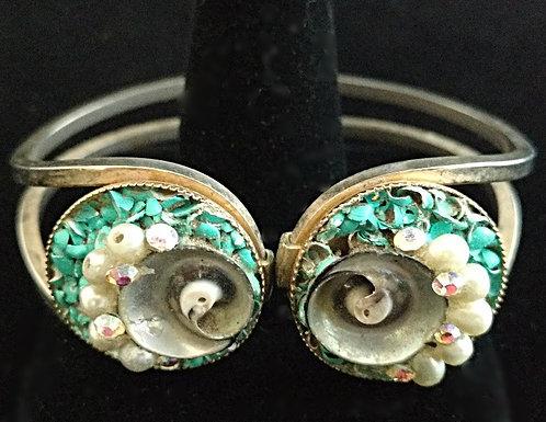 1950's Shell Hinged Bracelet in Green Pearl& Aurora Borealis