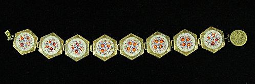 Antique Italian Micro Mosaic Floral Bracelet Set in Embossed Brass
