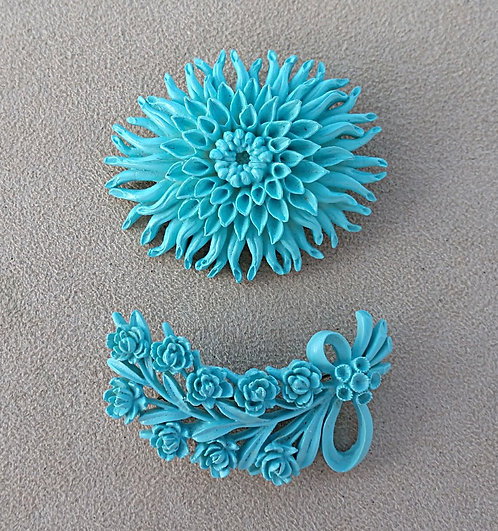 Pair of Vintage Aqua Floral Celluloid Brooches