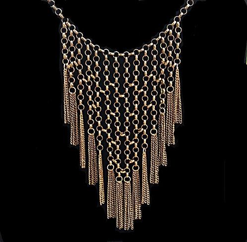 1980's Antique Brass Tone Bib Chain & Tassel Fringe Necklace