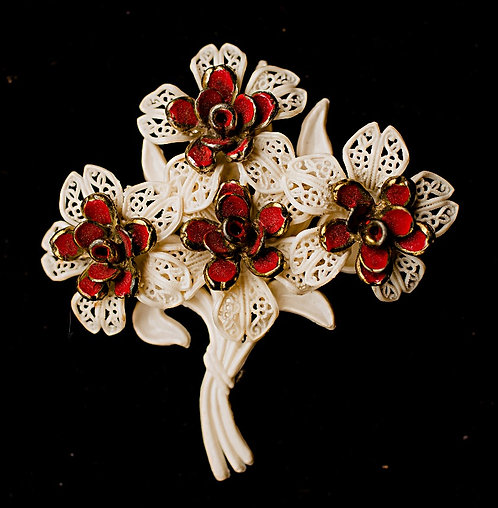 Early 1900's White Celluloid Bouquet Brooch with Red Metal Flower Clusters