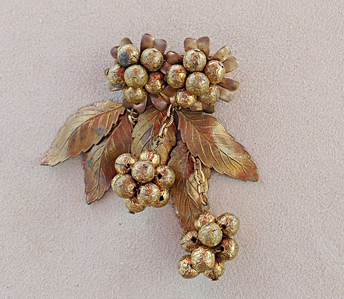 1930's Antique Brass Brooch with Flowers, Leaves and Beaded Berry Clusters