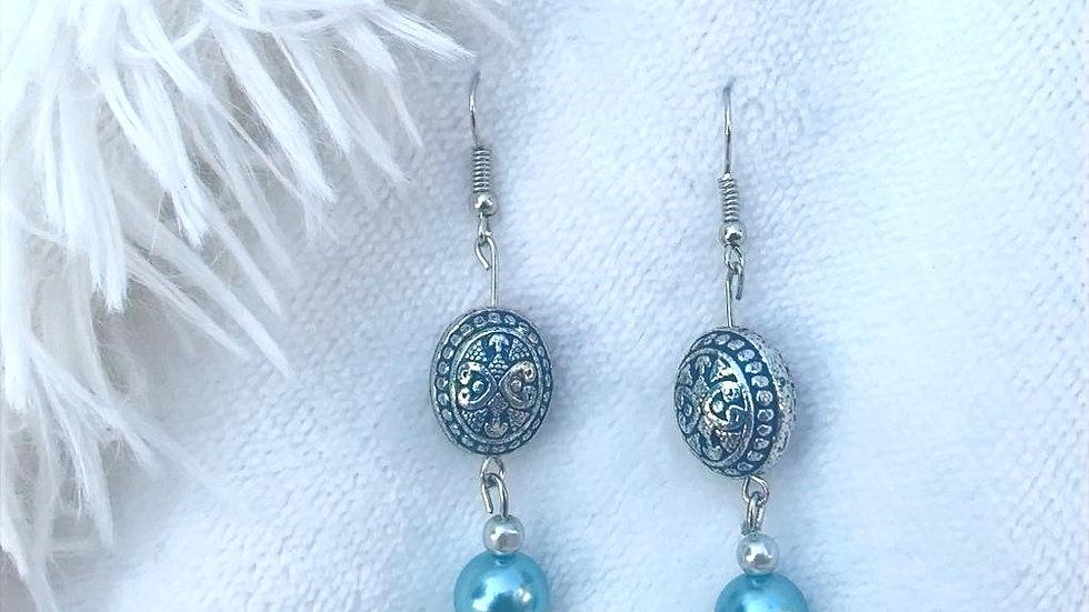 Handmade teal and silver drop earrings