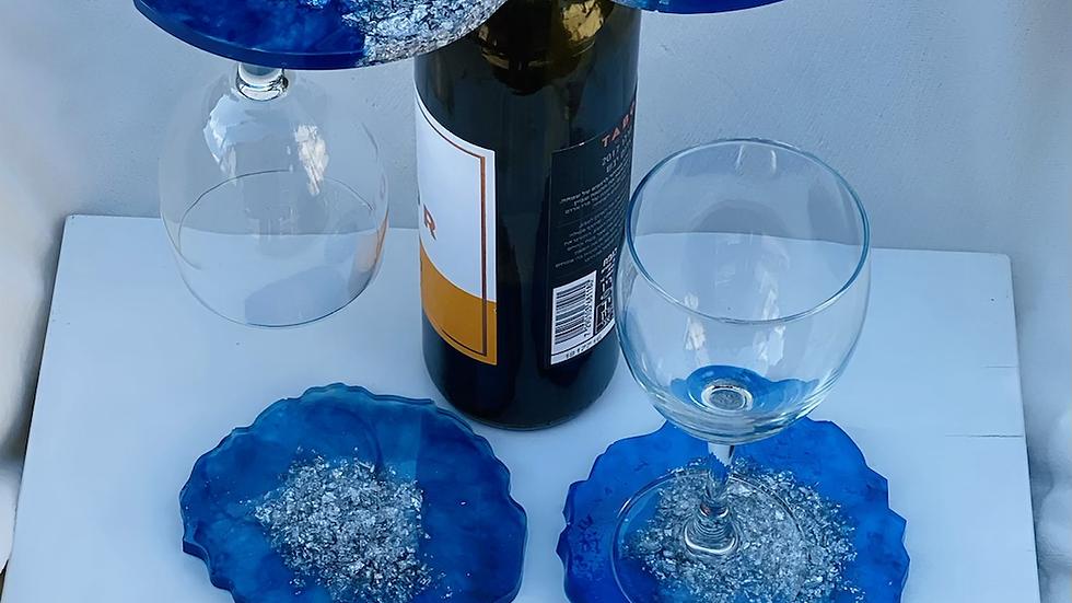 Handmade resin wine serving set