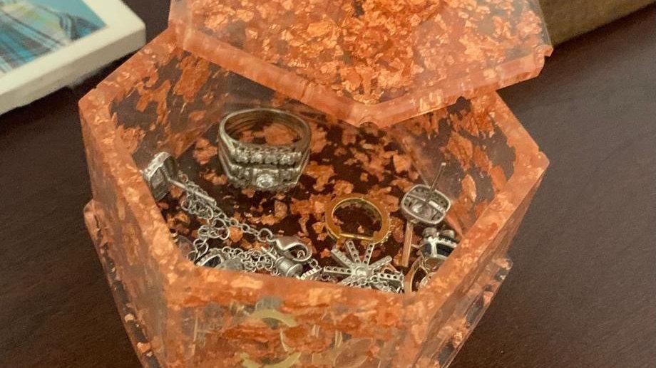 Beautiful gold flaked jewelry box