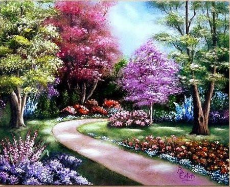 Virágos sétány 40x50 olaj