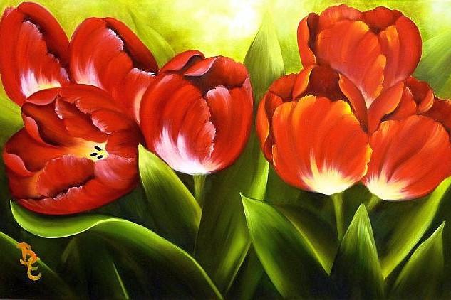 Tulipánok  30 x 40 farost lemez