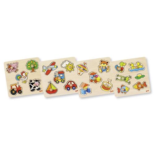 jouet montessori, puzzle en bois, puzzle à encastrements, jouet en bois, jouets en bois, goki, jouets de léa