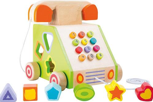 jouet à tirer, jouet de motricité, téléphone, jouets en bois, jouets de léa