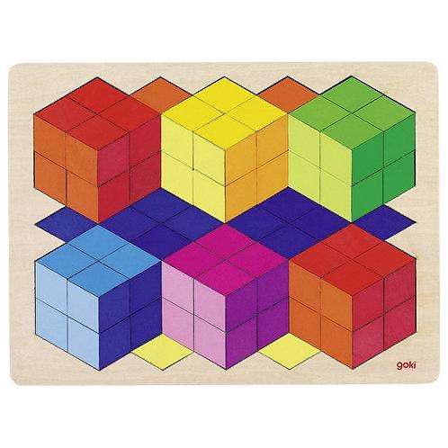 jouet montessori, puzzle 3D, puzzle bois, jouet en bois, jouets en bois, goki, jouets de léa