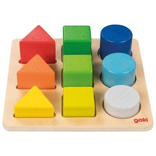 assortir les formes et les couleurs, jouets montessori, jouet en bois, jouets en bois, jouets de léa, goki