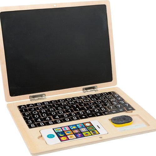 ordinateur portable, ardoise, tableau aimanté, jouets en bois, jouets de léa