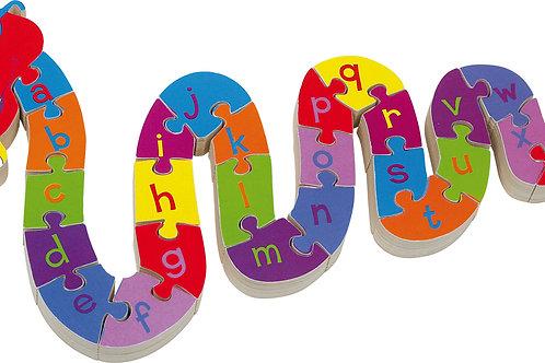 jouet montessori, puzzle en bois, puzzle abc serpent, jouets en bois, jouet en bois, jouets de léa