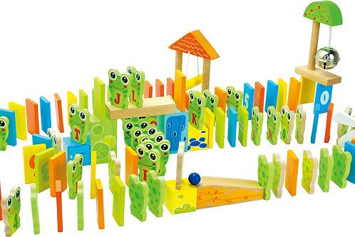 rallye de dominos, jeu d'adresse et d'équilibre, jouets en bois, jouets de léa