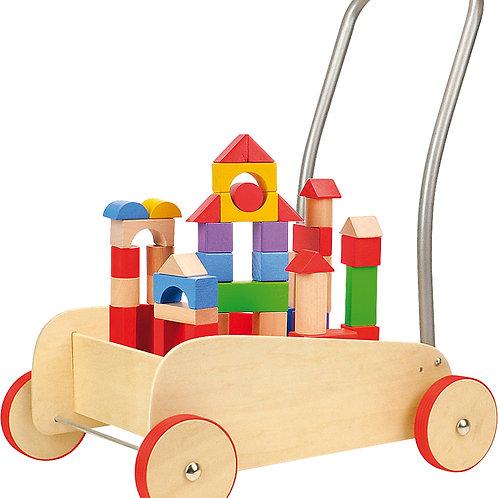 chariot de marche, blocs de construction, jouet en bois, jouets en bois, jouets de léa