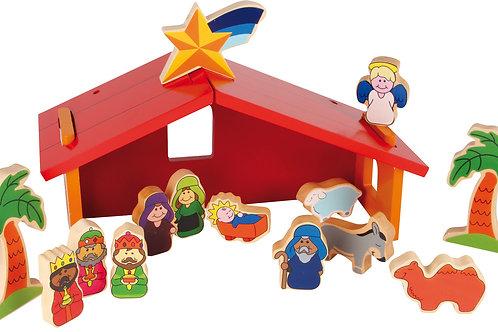 crèche, décoration de noël, jouets en bois, jouets de léa