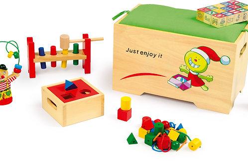 jouet en bois, jouets en bois, jouets de léa, coffre à jouets, small foot, jouets montessori