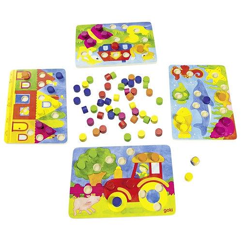 loto des couleurs, jouet en bois, jouets en bois, goki, jouets de léa