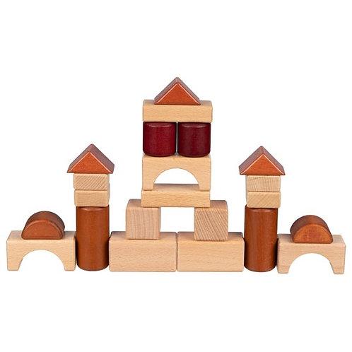 Jeu de construction, boîte en bois.