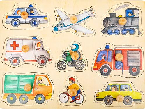 puzzle bouton, pièces à poser, véhicules, jouets en bois, jouets de léa