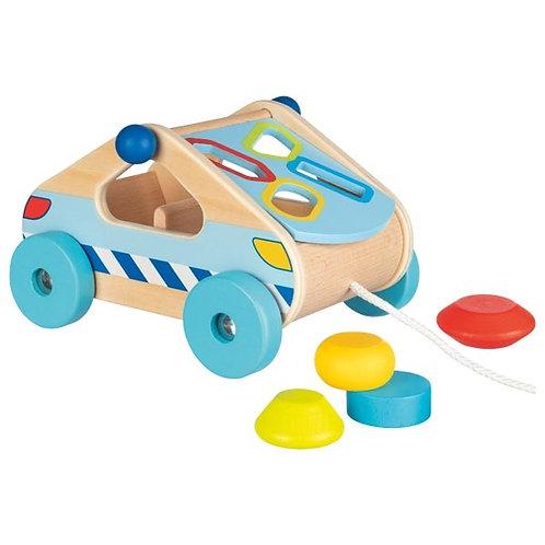 boîte à formes, voiture à tirer, jouets montessori, jouet en bois, jouets en bois, jouets de léa, goki