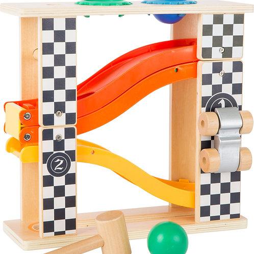 circuit à billes, jeu à marteler, jouets en bois, jouets de léa