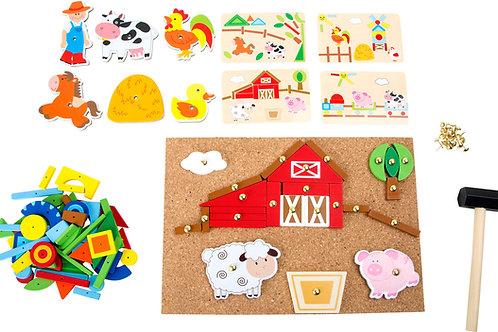 jeu de clous, ferme, jouets en bois, jouets de léa