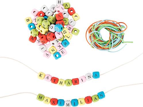 lettres alphabet, perles bois, jouets en bois, jouets de léa