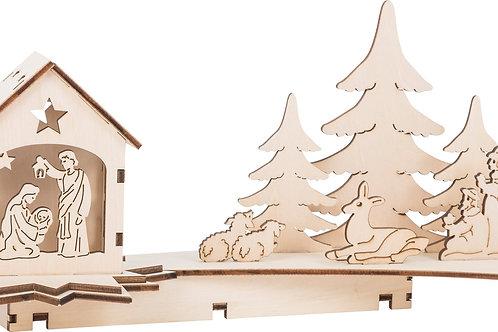 lampe, crèche, noël, décoration de noël, jouets en bois, jouets de léa