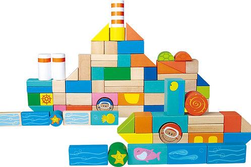 bloc de construction, monde sous marin, jouets en bois, jouets de léa