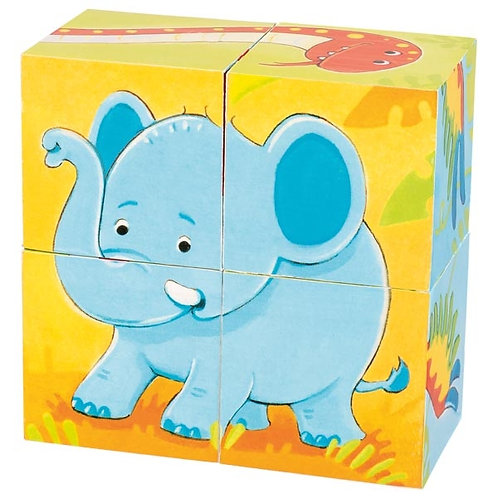 Puzzle 4 cubes animaux sauvages.