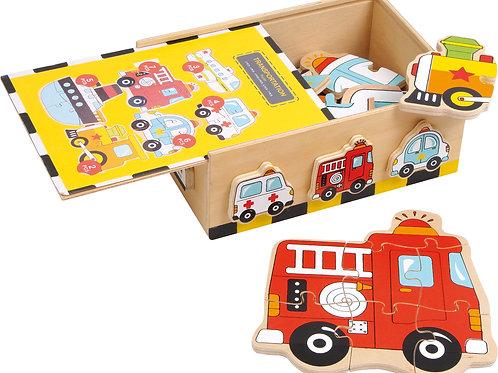 puzzle, boîte de puzzle, véhicules, jouets en bois, joeuts de léa