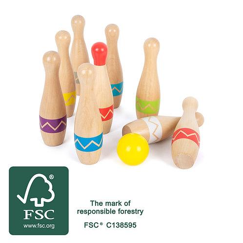 jeu de quilles, bowling, jouet en bois, jouets en bois, jouets de léa, jouet montessori, jouets montessori