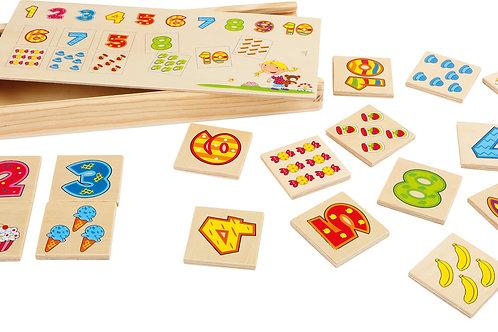 mémory, chiffres, jouets en bois, jouets de léa