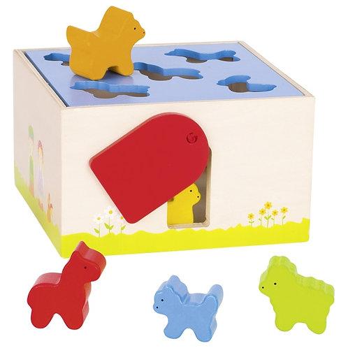 boîte à formes, animaux de la ferme, jouets montessori, jouet en bois, jouets en bois, jouets de léa, goki