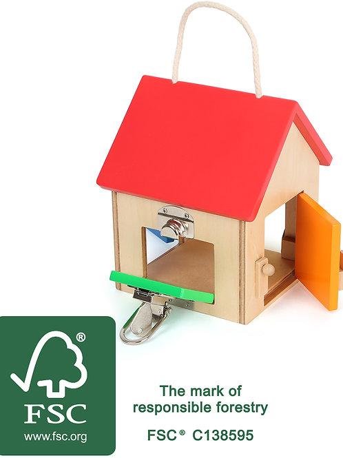 jouet montessori, maison à serrures, jouet en bois, jouets en bois, jouets de léa