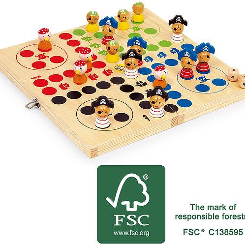 jeu de ludo, pirates, jeu de société, jouets en bois, jouets de léa, jouet en bois, jouet montessori, jouets montessori