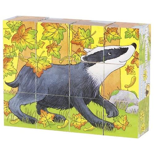Puzzle 12 cubes animaux de la forêt.