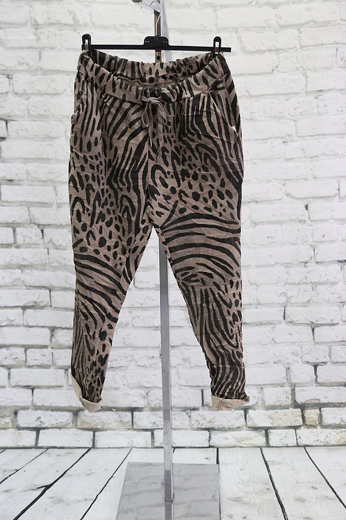 Tan Zebra Print Magic Pants