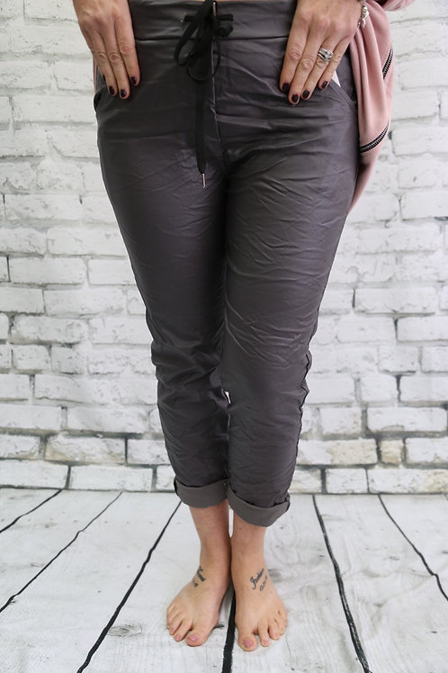 Leather look magic trousers grey