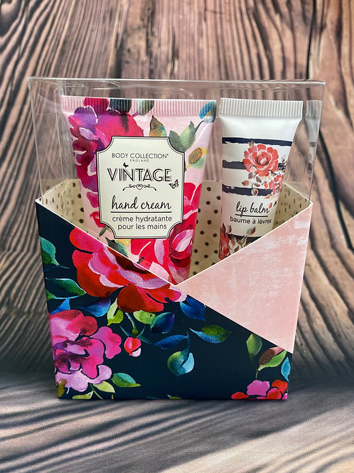 Vintage Hand Cream & Lip Balm Set