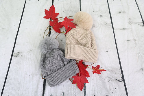 Fleece Lined Cable Knit Bobble Hat