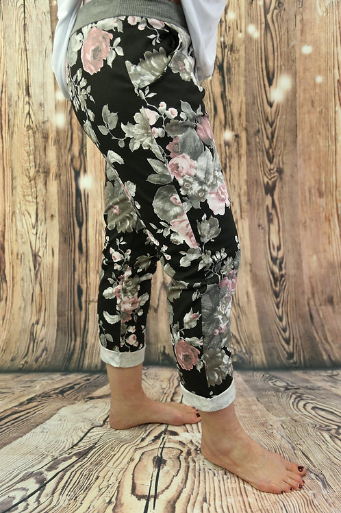 Pink and Black Floral Joggers