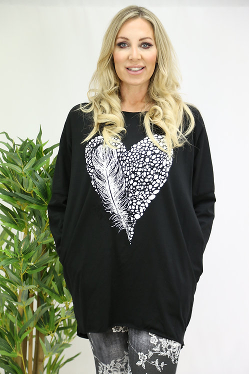 Feather & Heart Print Tunic Top