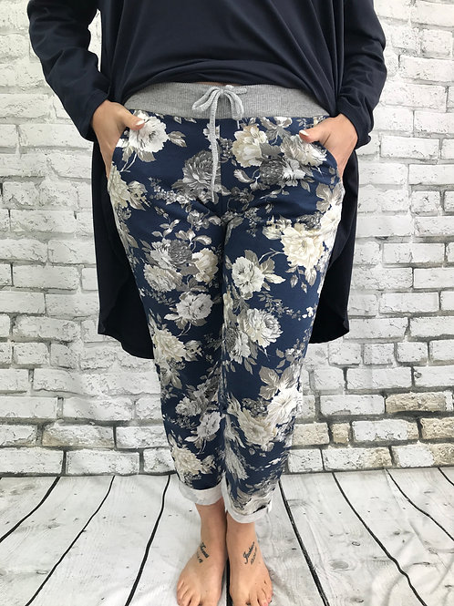 Navy and cream floral joggers