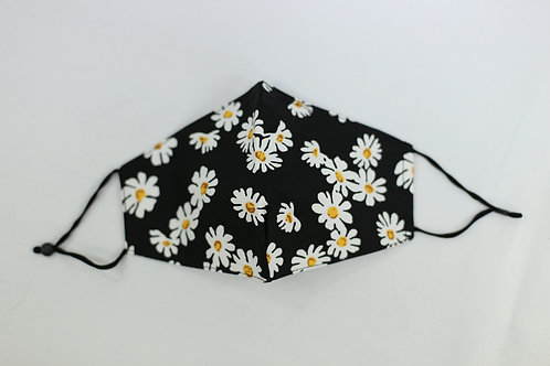 Black Daisy Face Mask