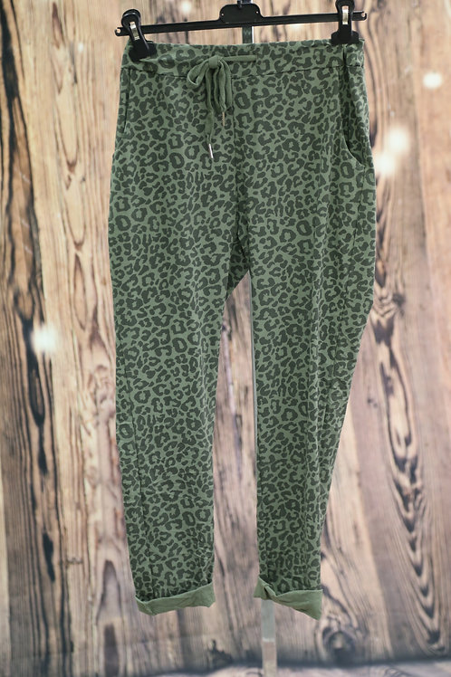 Ditsy Leopard Print Magic Pants